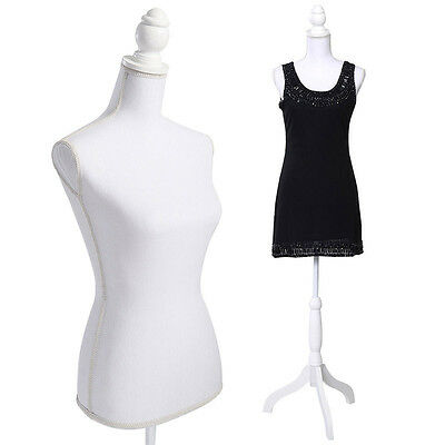 White Female Mannequin Torso Dress Form Display + WhiteTripod Stand Qood Quality