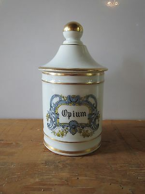 French Porcelain apothecary pharmacy jar 'Opium' by DT France