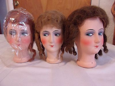 Vintage Molded Paper Papier Mache DOLL HEADS Wig Flapper Lady 20's Style GERMANY