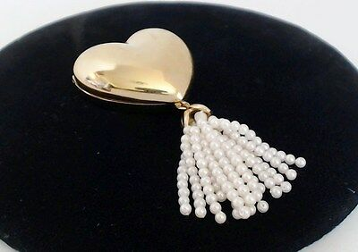 Estee Lauder Solid Perfume Compact Golden Heart Seed Pearl Tassel 1993 Empty EUC