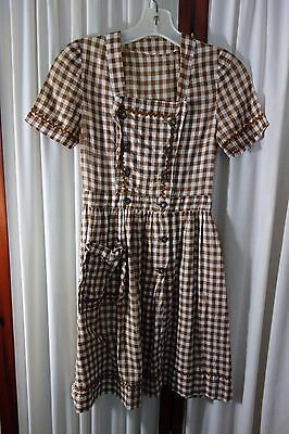 1940's Cotton Dress- X-Small- Brown & White Gingham-VG- SWEET COUNTRY LOOK