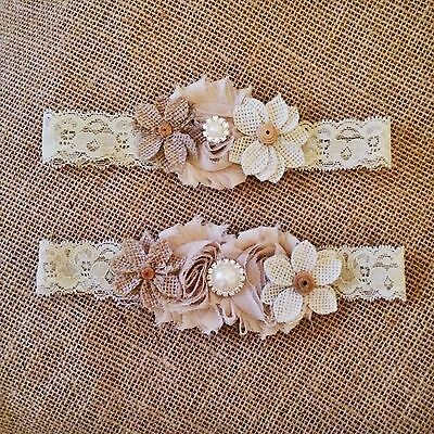 Wedding  Vintage bridal garter set -burlap country girl-New-Handmade