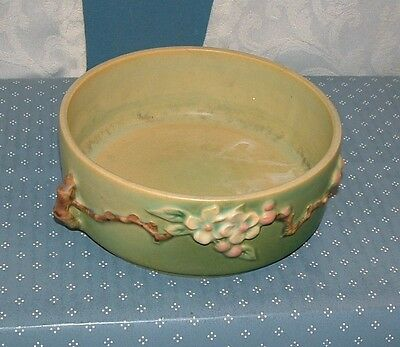 "Roseville Pottery, Green, Apple Blossom Bowl - 326-6"" - Excellent Condition"