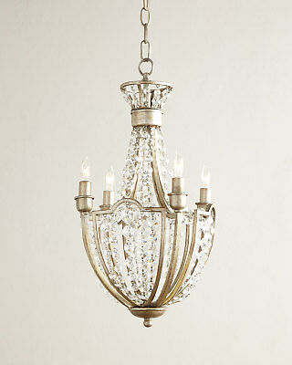 """19"""" Horchow Crystal Beaded Chandelier French European Antique Gold $2400"""