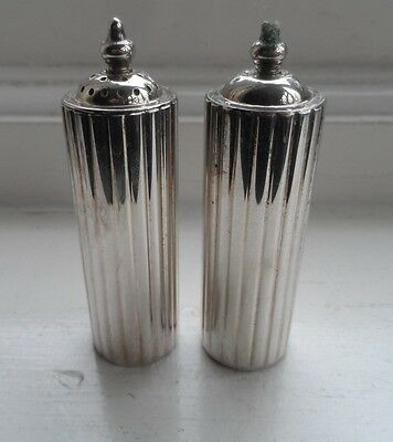 Unusual Cylidrical & Ribbed  1960's Silver Plated Salt & Pepper Shakers Nr