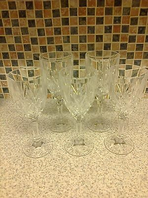 Cut Glass Crystal 5 X Wine Glasses 2 Are Taller Thick Stem Diamond Cut