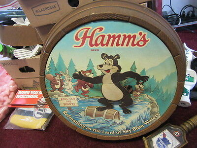 VTG Hamm's Beer Sign Bear & Friends 3-D Barrel Animated Log Roller Bar Man Cave