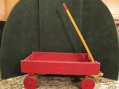 Old Vintage Antique Primative wooden Child's Toy Wagon - With Handle