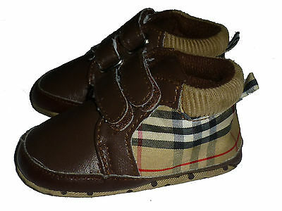 Burberry London Baby Boys Brown Plaid Leather Sneakers Crib Shoes Size 2