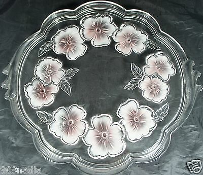 Vintage Heavy Glass Serving Tray Scalloped Edges Pink Frosted Pansy Flower