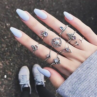9pcs /Set Retro Bohemia Gold Silver Plated Queen Crystal Finger Knuckle Rings