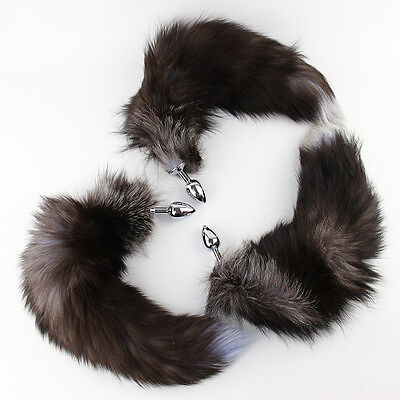 Funny False Fox Tail With Stainless Steel Plug Romance Game Toy Black and Silver