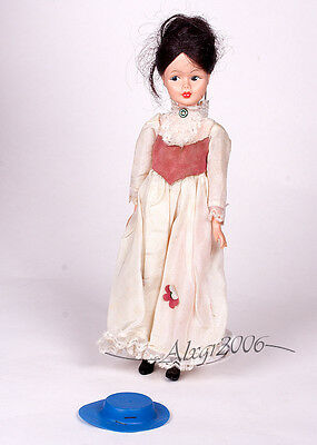 "Marry Poppins Vintage 1960s  Horsman 12"" Doll with blue hat partial Outfit"