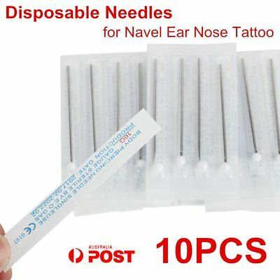 10pcs 16G Disposable Sterile Body Piercing Needles for Navel Ear Nose Tattoo AU