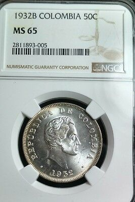COLOMBIA - 1932 NGC MS65 - Bogota Mint - 50 Centavos - Nice Toning - Silver Coin