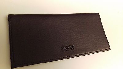 COACH Brown Leather Checkbook Cover Mens Womens Nice Shape, Elegant