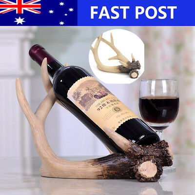 Deer Antlers Shape Wine Rack Stand Bottle Holder Home Desk Decor Resin Sculpture