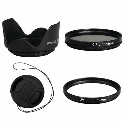 52mm CPL+Lens Cap+Lens Hood+UV Filter for Nikon Canon Pentax Sony DSLR SLR Lens