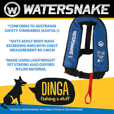 Watersnake Inflatable PFD Life Jacket Adult Level 150 Manual Blue