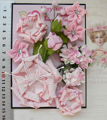 PINK & WHITE - 11 Flowers + Leaves 5 Styles = PAPER & SATIN Flowers 15-65mm VB4