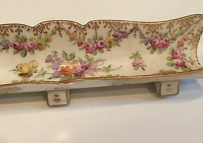 """Antique Dresden Porcelain Footed Pen Tray Hand Painted 6 5/8"""" Long"""
