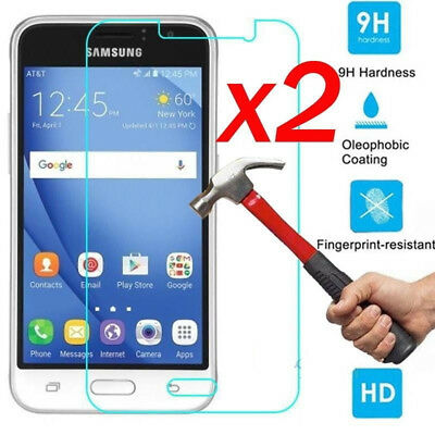 2PC Tempered Glass Screen Protector Protection Protective Film For Samsung J1-J7