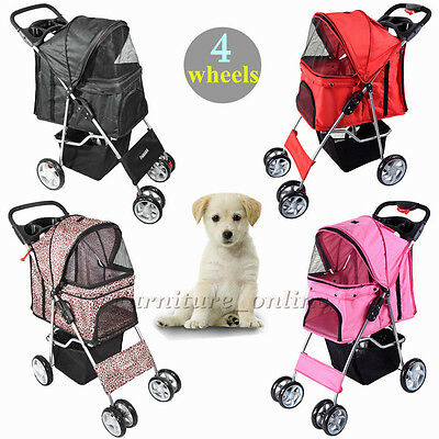 Dog Puppy Cat Pet Travel Stroller Pushchair Pram Jogger Buggy 4 Swivel Wheels UK