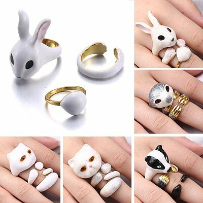 Lovely 3Pcs/Set Cute Animal Cat Dog Knuckle Finger Rings Womens Lady Jewellery