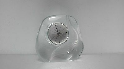 rare horloge pendule daum france cristal quartz french clock 1960 design