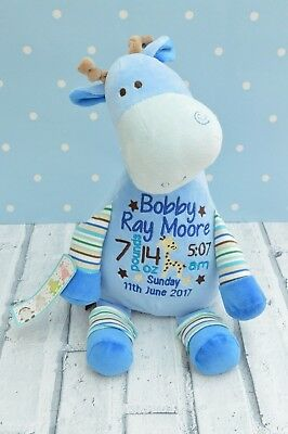 Personalised Cubby Teddy Bear , New Baby Gift, Cubbies, giraffe, Christening