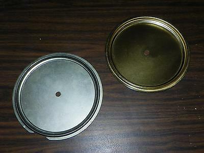 "VTG NEW OLD STOCK 7"" BRASS & STEEL WALL CLOCK DIAL PAN LOT w/ PRE-DRILLED HOLE"