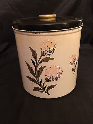 Decorware Tin Canister *Pink Thistle*  Black Lid and  Gold Knob