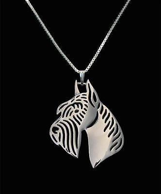 Schnauzer Pendant Necklace Ears Up  Silver ANIMAL RESCUE DONATION