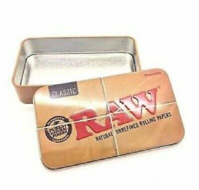 RAW Authentic Metal Rolling Cigarette Tin Case papers 11.5 x 6.5cm
