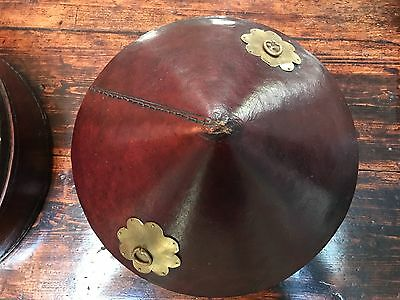 A Pair of Antique Chinese Leather Hat Boxes