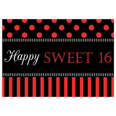 BLACK AND RED Polka Dot Striped Sweet 16 Sixteen Birthday Banner