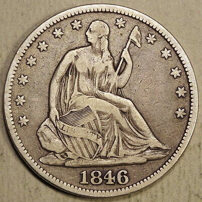 1846 Seated Liberty Half Dollar, Fine, Problem Free Type Coin   0713-08