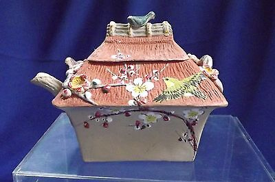 Rare Antique Banko Japanese Pottery House With Birds & Flowers Bird Lid TEAPOT