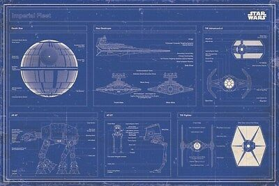 New Star Wars Imperial Fleet Blueprint Poster