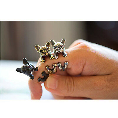 Jewelry Women French Bulldog Dog Finger Ring Animal Wrap Rings Adjustable Ring