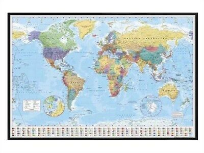 New Gloss Black Framed World Map With Flags Poster