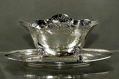 Gorham Sterling Sauce Boat & Tray        1916         HAND HAMMERED