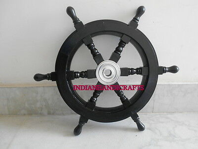 Wooden Black Ship's Wheel Handcrafted Vintage Style Aluminum Centre Decor Item