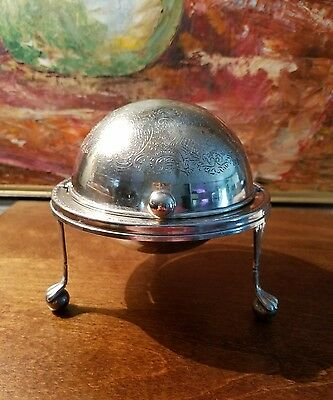 Antique Silver Plate Domed ROLL Top CAVIAR Formal BUTTER Dish English