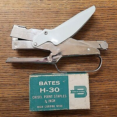 """BATES H-30P Stapler and Box of Chisel Point 3/8"""" High Carbon Wire 5000 Staples"""