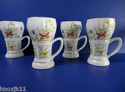 Set (4) Shafford Ecstasy Large COFFEE MUGS Butterfly Garden 12oz Tea Cups Japan!