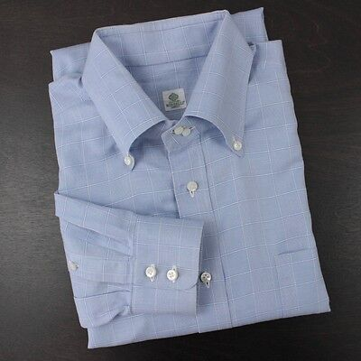 BORRELLI Dress Shirt Button Down Light Blue Check 16/41 Plaid Cotton Italy-Made