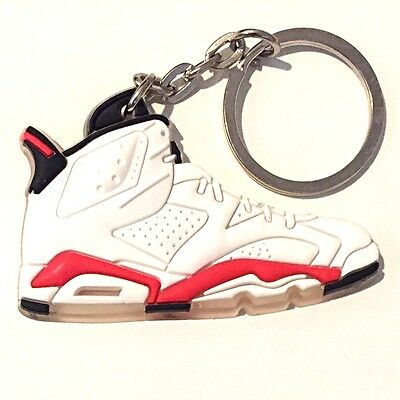best service b5ef1 50896 Air Jordan Vi 6 Retro Infrared 23 White Red Sneakers Shoes Key Chain Ring  Holder