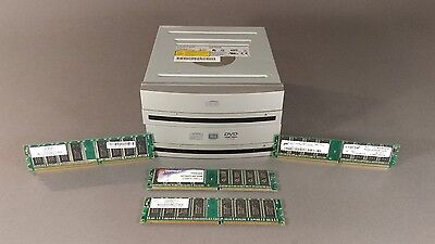 Desktop computer parts lot.(2)-CD-ROM drives~Silver bezel (4)-512MB Memory cards