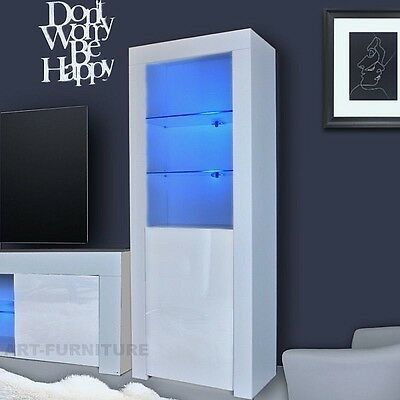 Modern High Gloss and Matt Display Cabinet Cupboard Black White Glass LED LIGHTS